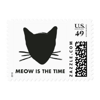Meow is the Time Cat Head Custom Postage Stamp