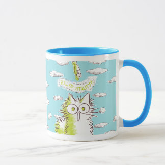 Meow! Kitten with white clouds. Mug