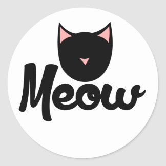 Meow Kitty Cat Classic Round Sticker