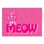Meow kitty cat pink valentine's card