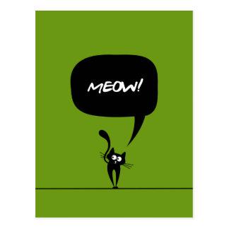 meow kitty green 1 Postcard