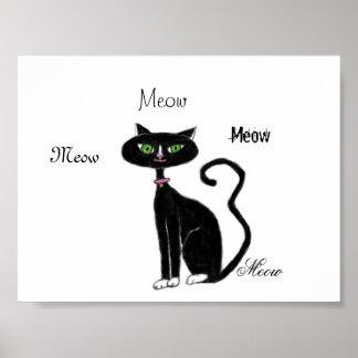 Meow Kitty Retro Poster