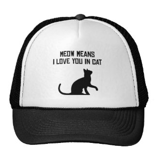Meow Means I Love You In Cat Hats