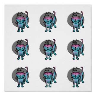 Meow meow meow colorful cartoon cat pattern poster