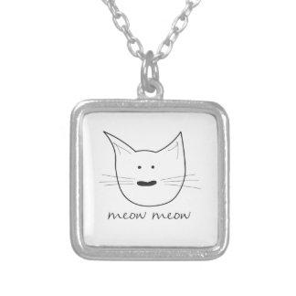 Meow Meow Square Pendant Necklace