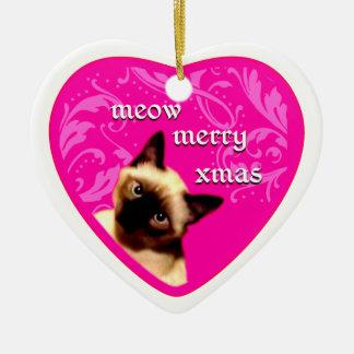 meow merry xmas Double-Sided heart ceramic christmas ornament