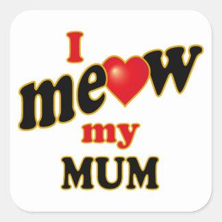 Meow mi momia pegatina cuadrada