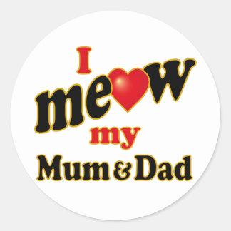 Meow mi momia y papá pegatina redonda