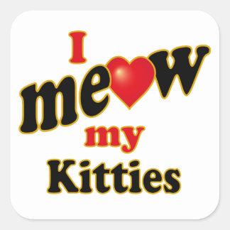 Meow mis gatitos pegatinas cuadradases