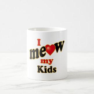 Meow mis niños taza básica blanca