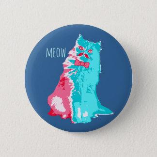 Meow Mustache Kitty Button
