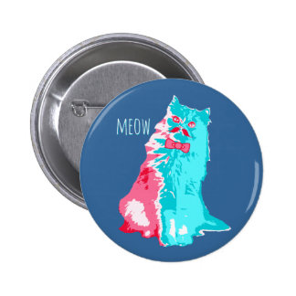 Meow Mustache Kitty Button