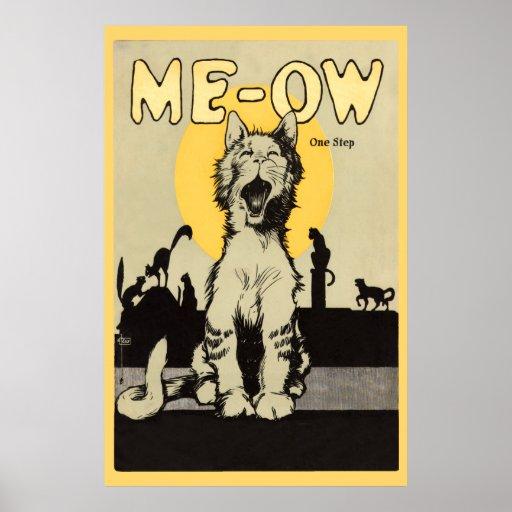 Meow One step vintage cute cat lovers feline Poster