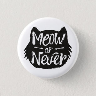 "Set of 4 Pin back buttons 1/"" Cat Quotes Sayings Button pin I Love My Cat Meow #2"