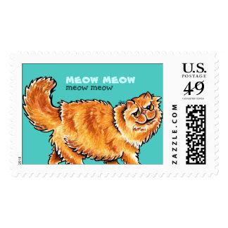 Meow Orange Persian Cat Custom Message Postage Stamp