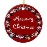 Meow-ry Christmas Ceramic Ornament