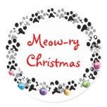Meow-ry Christmas Classic Round Sticker