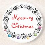 Meow-ry Christmas Drink Coasters