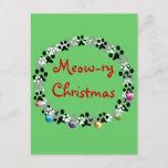 Meow-ry Christmas Holiday Postcard