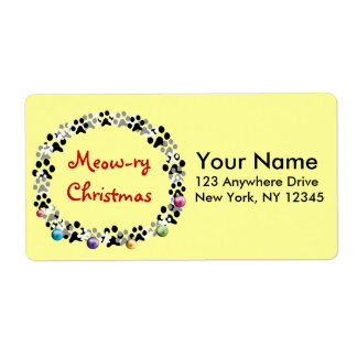 Meow-ry Christmas Personalized Shipping Label