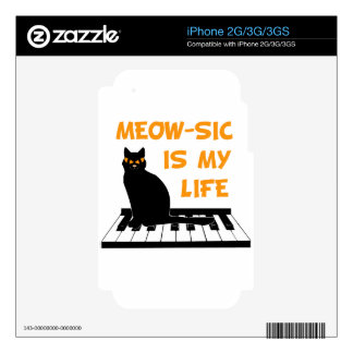 Meow-sic Is My Life Decal For The iPhone 3