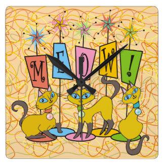 Meow! Square Wall Clock