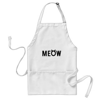 Meow, text design with black cat ears adult apron