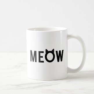 Meow, text design with black cat ears coffee mug