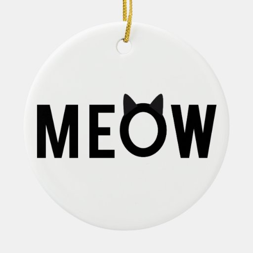 Meow, text design with black cat ears christmas ornament