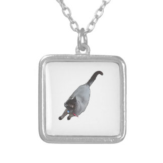 Meow - The Adventures Of jetty Cat Square Pendant Necklace