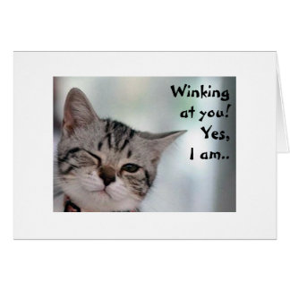 MEOW U LOOK GOOD FOR TURNING 40=WINK WINK GREETING CARD