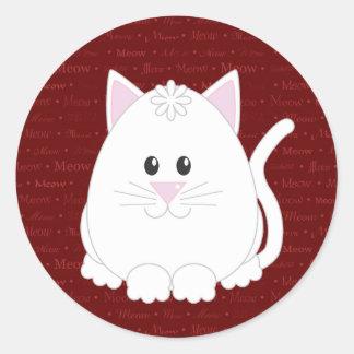 Meow White Cat Sticker