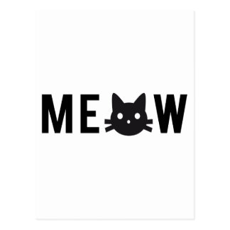 Meow, with black cat face, text design postcard