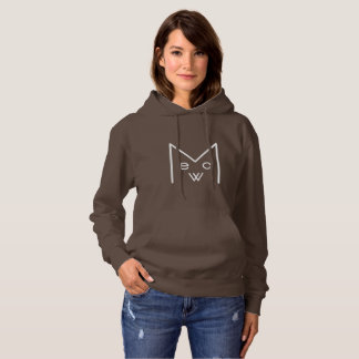 """Meow"" Women's Basic Hooded Sweatshirt, Wht Design Hoodie"