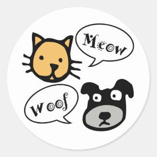 Meow Woof Classic Round Sticker
