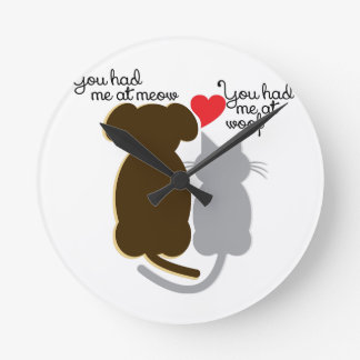 Meow Woof Round Clock