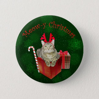 Meow-y Christmas Button