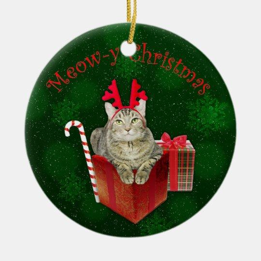 Meow-y Christmas Ceramic Ornament