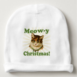 Meow-y Christmas, Cute Funny Holiday Cat Animal Baby Beanie