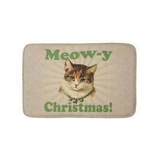 Meow-y Christmas, Cute Funny Holiday Cat Animal Bath Mat