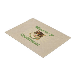 Meow-y Christmas, Cute Funny Holiday Cat Animal Doormat