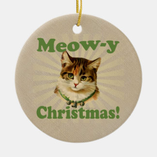 Meow-y Christmas, Cute Holiday Cat Animal Double-Sided Ceramic Round Christmas Ornament