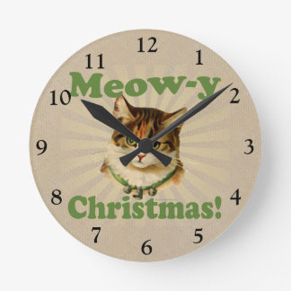 Meow-y Christmas, Cute Holiday Cat Animal Round Clock