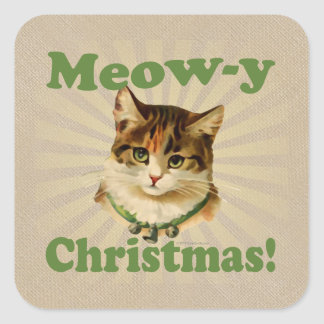 Meow-y Christmas, Cute Holiday Cat Animal Square Sticker