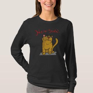 Meow Yeah -  Ladies Logn Sleeve Black T-Shirt