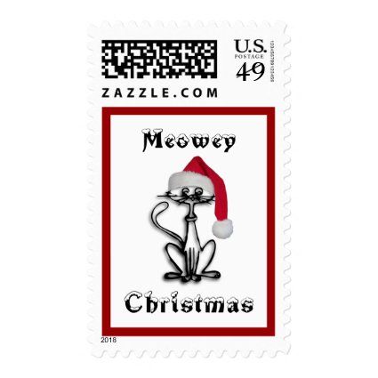 Meowey Christmas Cat Postage Stamp