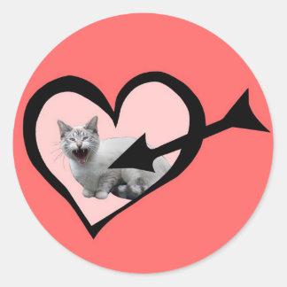 Meowing Cat Valentine Sticker