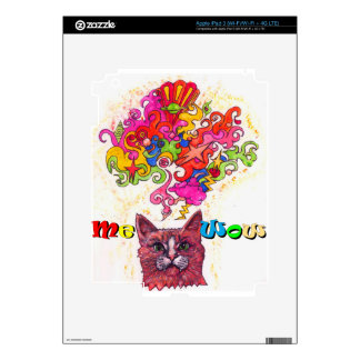 Meowing Psychedelic Cat Decals For iPad 3