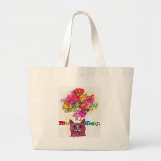 Meowing Psychedelic Cat Jumbo Tote Bag