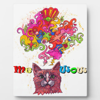 Meowing Psychedelic Cat Plaque
